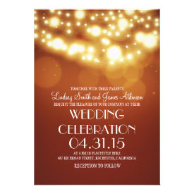 String lights orange elegant wedding invites