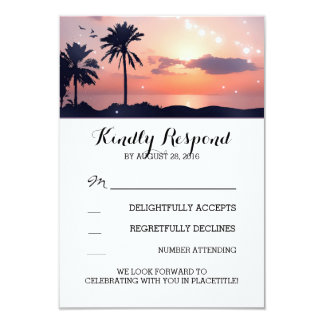string lights palm beach sunset wedding RSVP cards