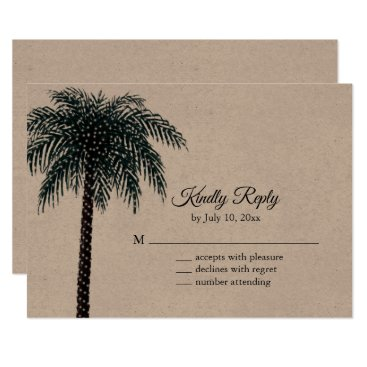 Wedding Themed String Lights Palm Tree RSVP on Kraft Paper Card