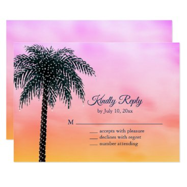 Beach Themed String Lights Palm Tree Sunrise RSVP Card