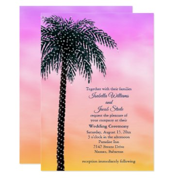 Beach Themed String Lights Palm Tree Sunrise Wedding Invitation