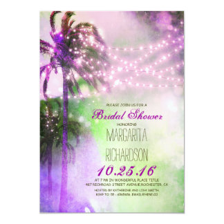 string lights palm trees beach bridal shower card