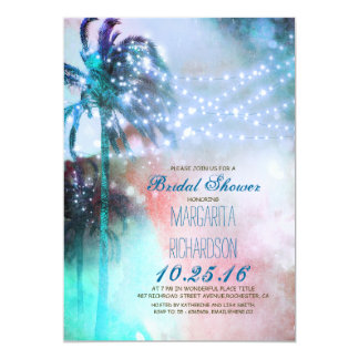 string lights palm trees beach bridal shower 5x7 paper invitation card