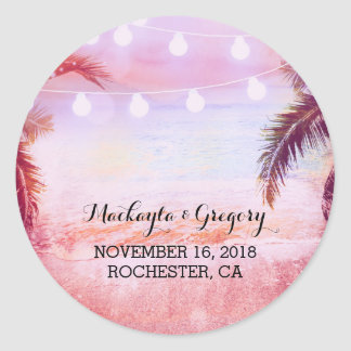 String Lights Palms Beach Sunset Purple Wedding Classic Round Sticker