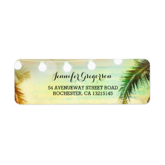 String Lights Palms Beach Sunset Return Wedding Label