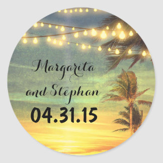 String Lights Palms Beach Sunset Wedding Classic Round Sticker