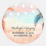 String Lights Palms Beach Wedding Stickers