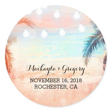 Beach Themed String Lights Palms Beach Wedding Stickers