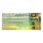 String Lights Palms Wedding Boarding Pass Tickets Card