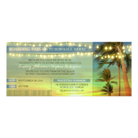 String Lights Palms Wedding Boarding Pass Tickets Custom Invitation