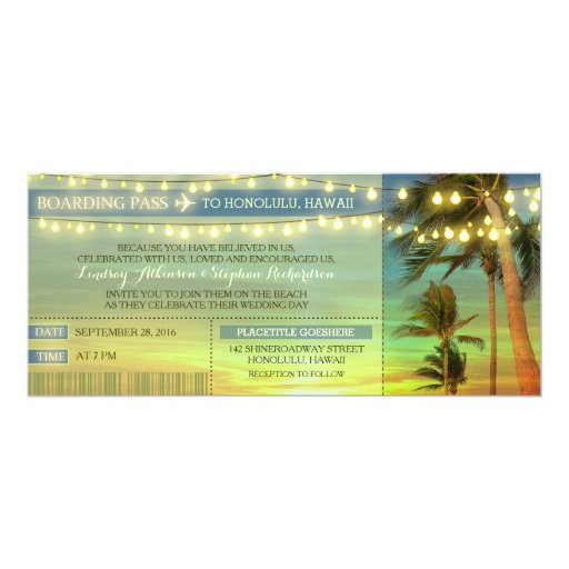 String Lights Palms Wedding Boarding Pass Tickets Invitation
