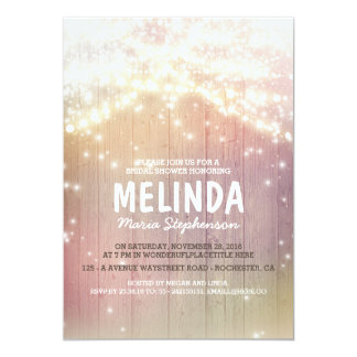 String Lights Pastel Rustic Barn Bridal Shower Card