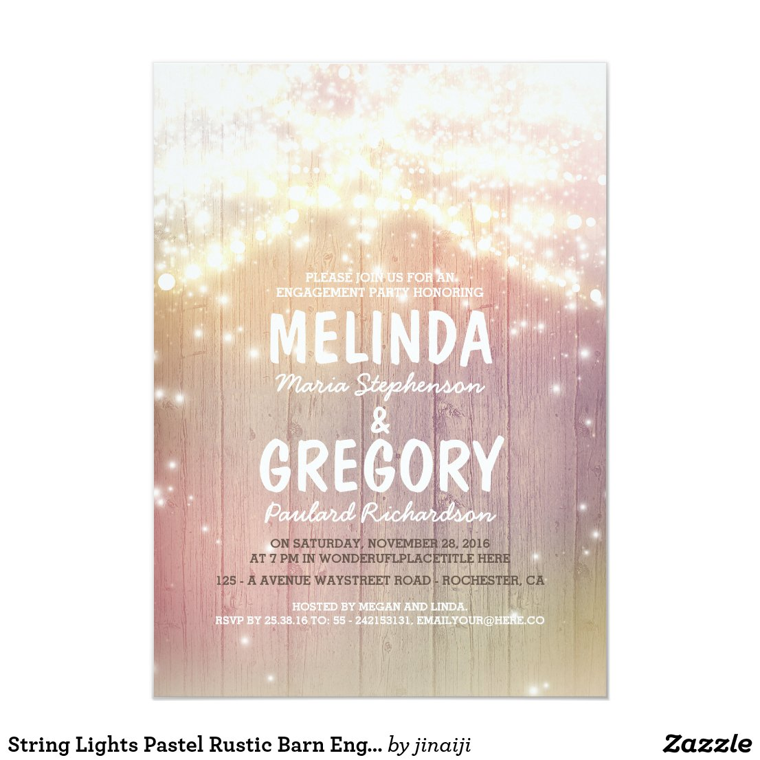 String Lights Pastel Rustic Barn Engagement Party Invitation