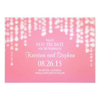 string lights pink SAVE THE DATE cards