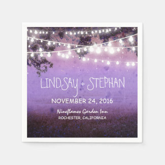 String lights purple rustic paper napkins