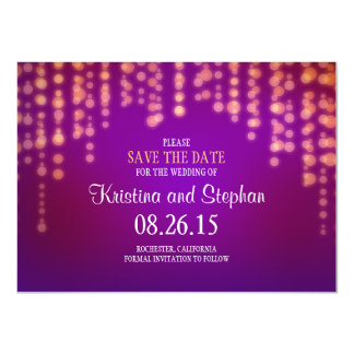 string lights purple SAVE THE DATE cards