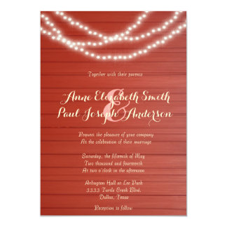 String lights red barn wood wedding invitations