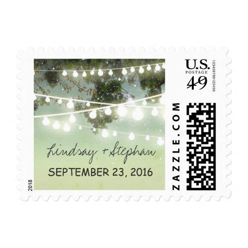 string lights romantic wedding postage stamps