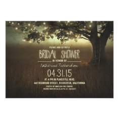 string lights rustic bridal shower invitation
