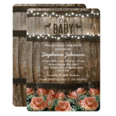 String Lights | Rustic Country Barrel Baby Shower Invitation