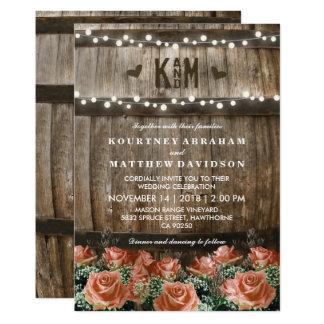 String Lights | Rustic Country Barrel Wedding Card