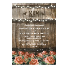 String Lights | Rustic Country Barrel Wedding Invitation