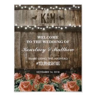 String Lights | Rustic Country Barrel Wedding Poster