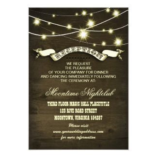 string lights rustic country reception cards