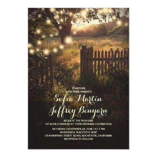 Vintage Invitation Card: String Lights Rustic Country Wedding Invitation