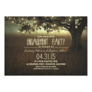 "string lights rustic engagement party invitation 5"" x 7"" invitation card"