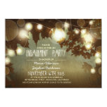 string lights rustic engagement party invitation