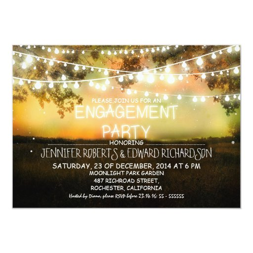string lights rustic engagement party invitations