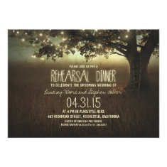 string lights rustic rehearsal dinner invitation