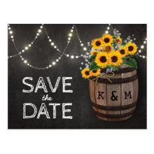 String Lights Rustic Sunflower Save the Date Postcards