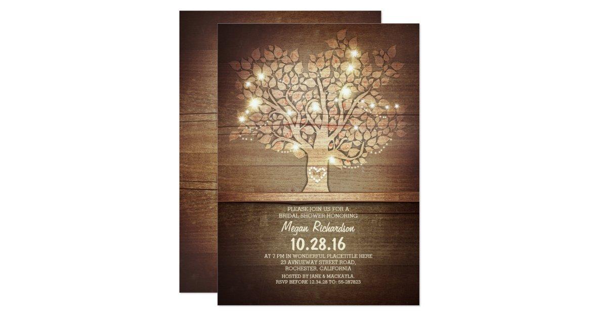 String Lights Rustic Tree : String lights & rustic tree bridal shower card Zazzle