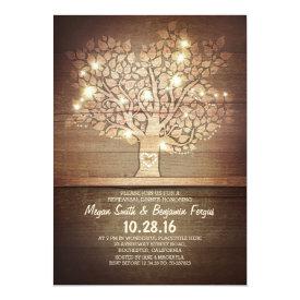 String lights & rustic tree rehearsal dinner card