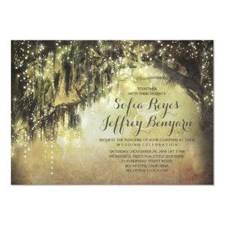 string lights rustic tree vintage wedding invites
