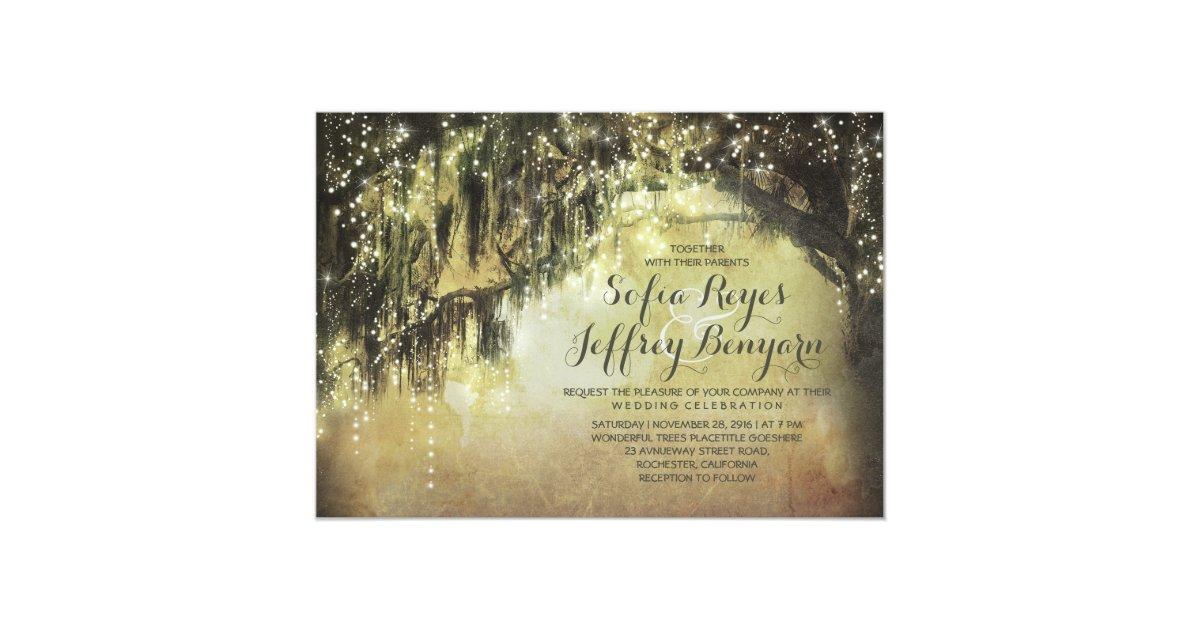 String Lights Rustic Tree : string lights rustic tree vintage wedding invites Zazzle