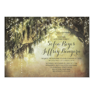 "string lights rustic tree vintage wedding invites 5"" x 7"" invitation card"