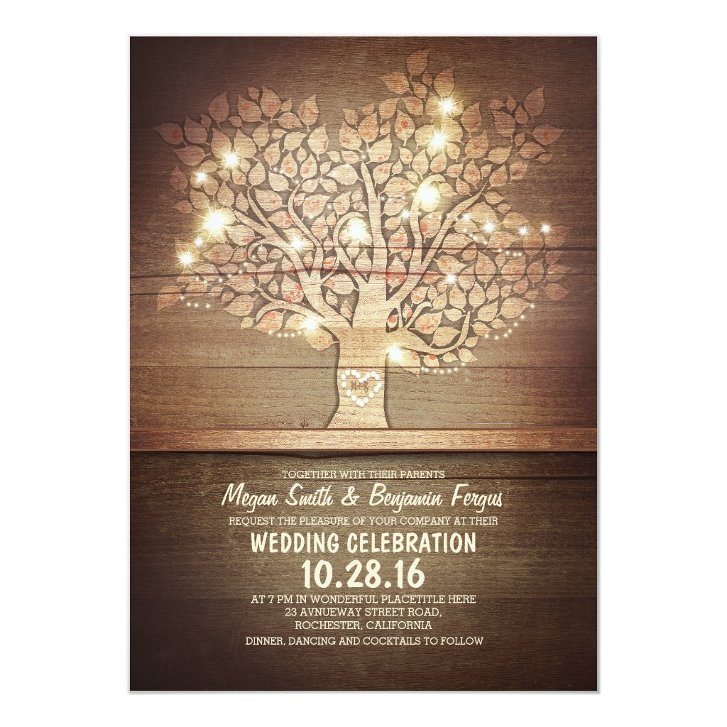 Rustic Tree Wedding Invitation with String of Lights