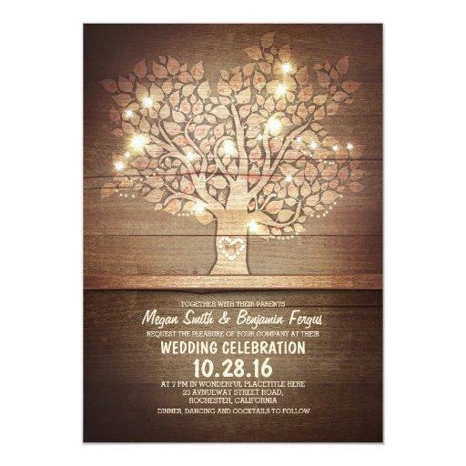 String Lights Tree Rustic Wedding Invitation : String lights & rustic tree wedding invitations Zazzle