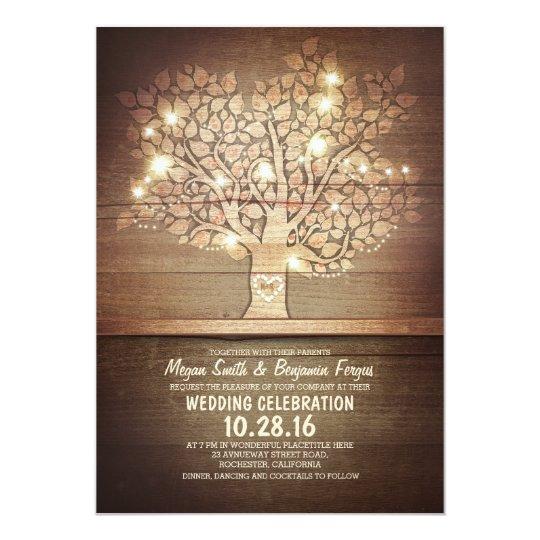 String lights rustic tree wedding invitations Zazzlecom