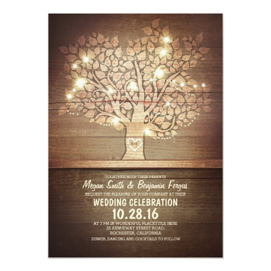 String lights & rustic tree wedding invitations Zazzle