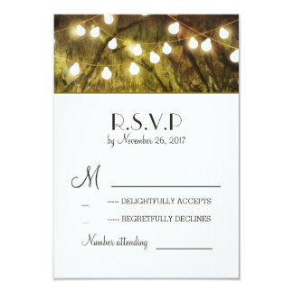 String Lights Rustic Trees Wedding RSVP Cards