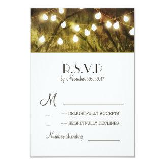 String Lights Rustic Trees Wedding RSVP Cards