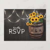 String Lights Rustic Vineyard Sunflower RSVP Invitation Postcard