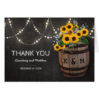 String Lights Rustic Vineyard Sunflower Thank You Card