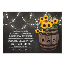 String Lights Rustic Vineyard Sunflower Wedding Invitations