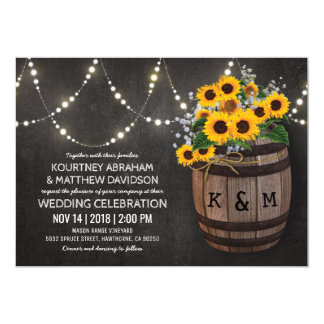 String Lights Rustic Vineyard Sunflower Wedding Invitation