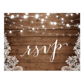 String Lights Rustic Wood Lace Wedding RSVP Reply Postcard